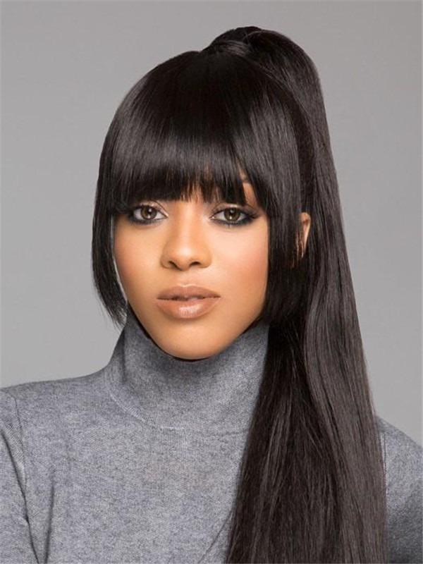 Snap Bang Front Human Hair Bang Clip Fringes