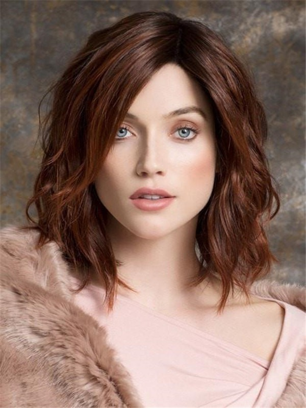 Mid-Length Human Hair Synthetic Blend Lace Front Wig