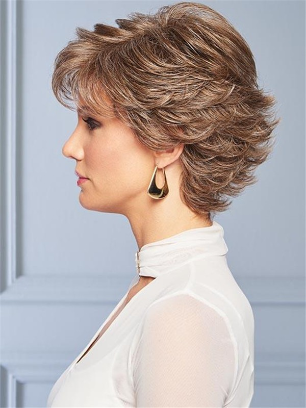 Short Straight Hf Synthetic Wig Basic Cap For Women