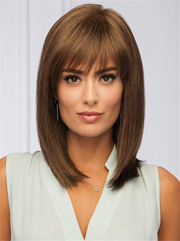 Mid-length Synthetic Wig Mono Part For Women