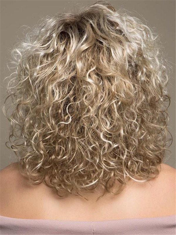 Curly Mid-length Synthetic Lace Front Wig For Women