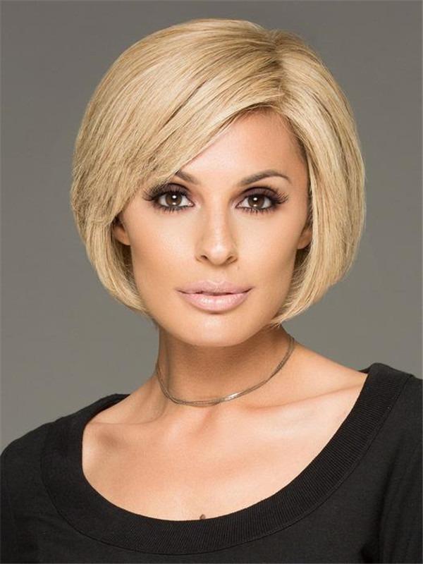 Straight Short Brunette 100% Human Hair Wig Mono Top For Women