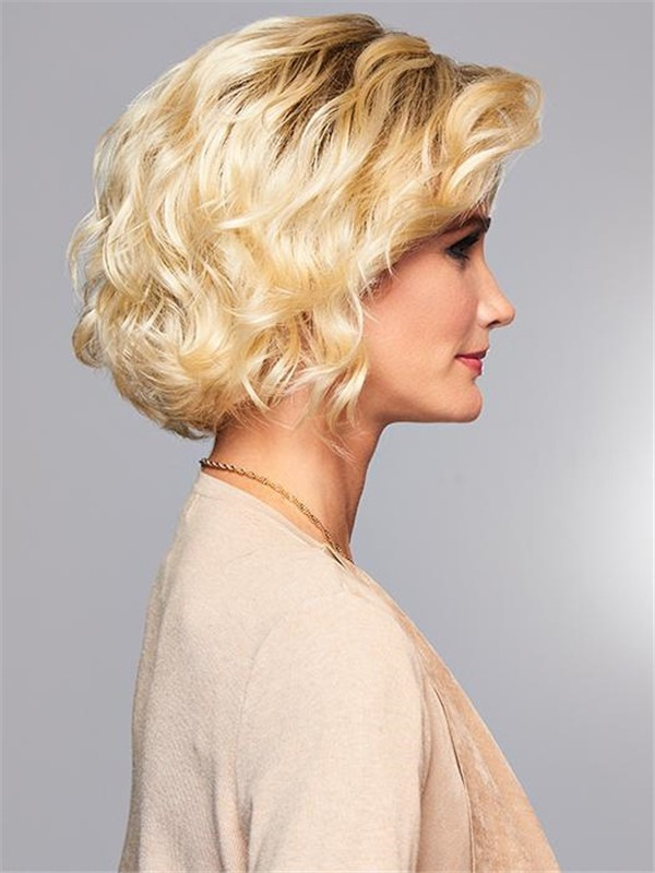 Short Curly Synthetic Lace Front Wig Mono Part For Women