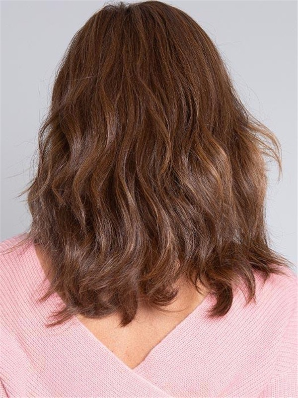 Mid-length Wavy Hf Synthetic Lace Front Wig Mono Crown For Women