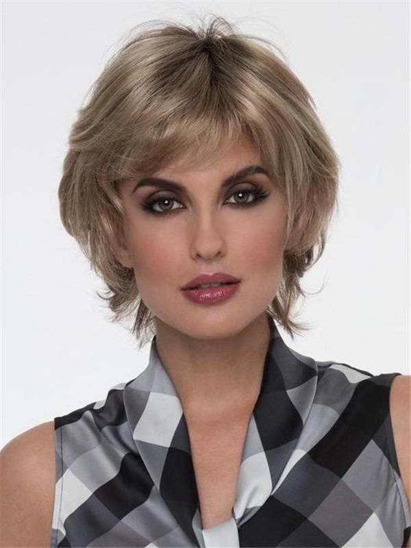 Short Tamara Synthetic Wig Mono Top Layered For Women