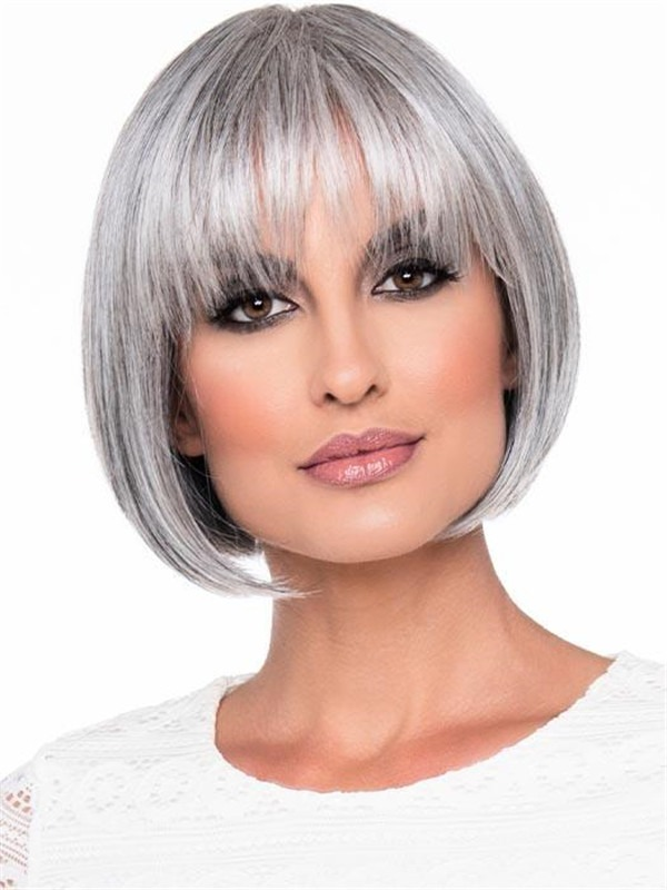 Short Tandi Human Hair Synthetic Blend Wig Rooted For Women