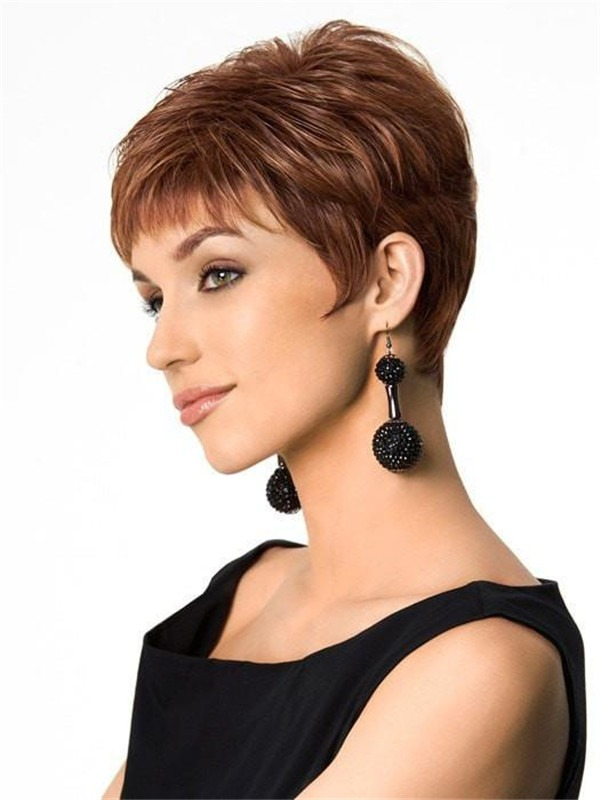 Short Pixie Hf Synthetic Wig Basic Cap For Women