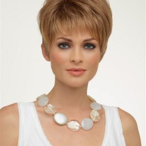 Short Straight Pixie Synthetic Wig Mono Top For Women