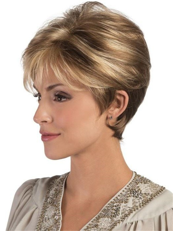 Brunette Rooted Synthetic Wig Mono Top