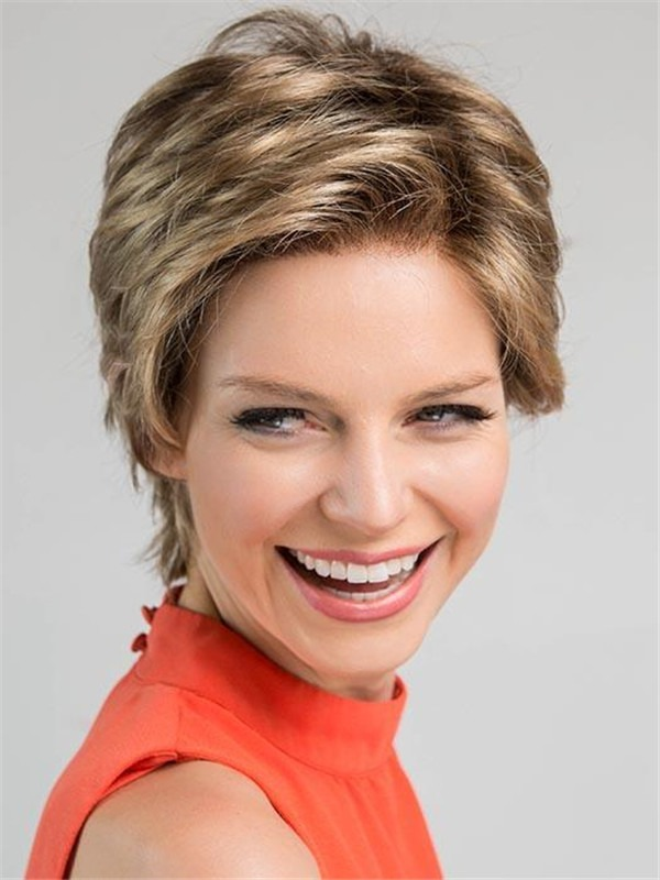 Short Wavy Synthetic Lace Front Wig Mono Crown For Women