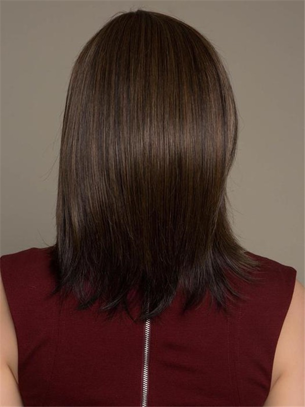 Short Mid-length Human Hair Synthetic Blend Wig