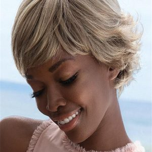Short Synthetic Wig Mono Top Rooted For Women