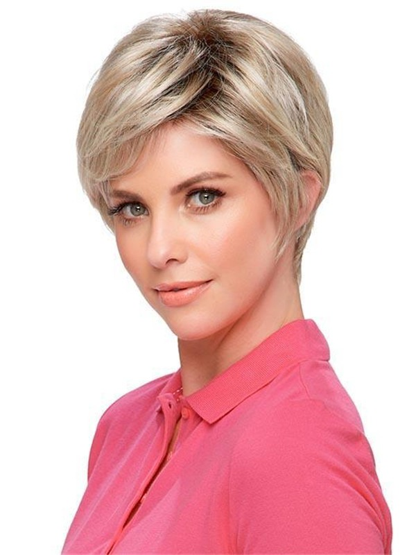Short Annette Synthetic Lace Front Wig Rooted For Women