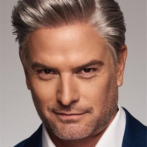 Short Straight Human Hair Synthetic Wig Blend For Men