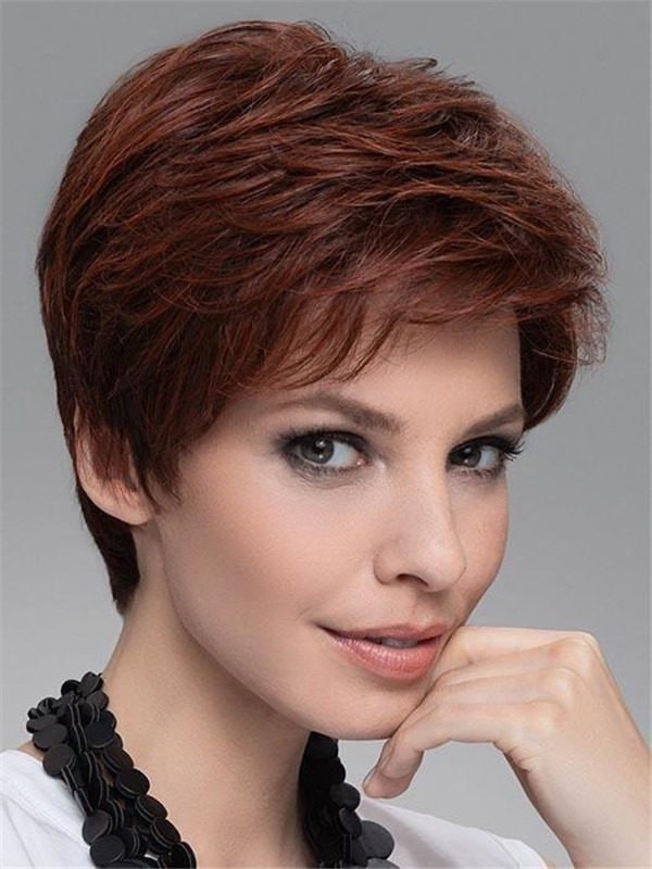 Short Human Hair Synthetic Blend Lace Front Wig For Women