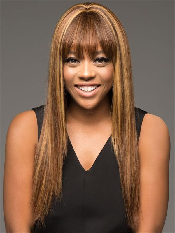 Straight Human Hair Wig Center Skin Part For Women