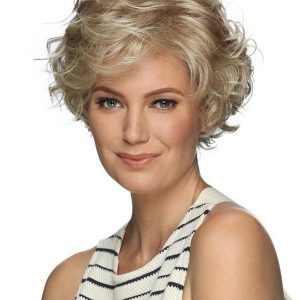 Short Curly Synthetic Lace Front Wig Basic Cap For Women