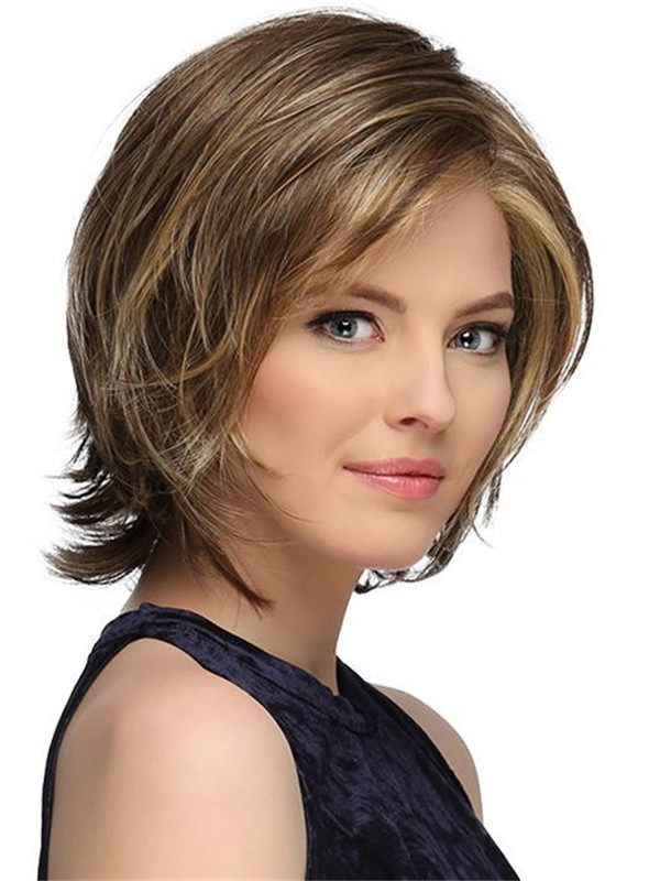 Short Monika Synthetic Lace Front Wig Rooted For Women