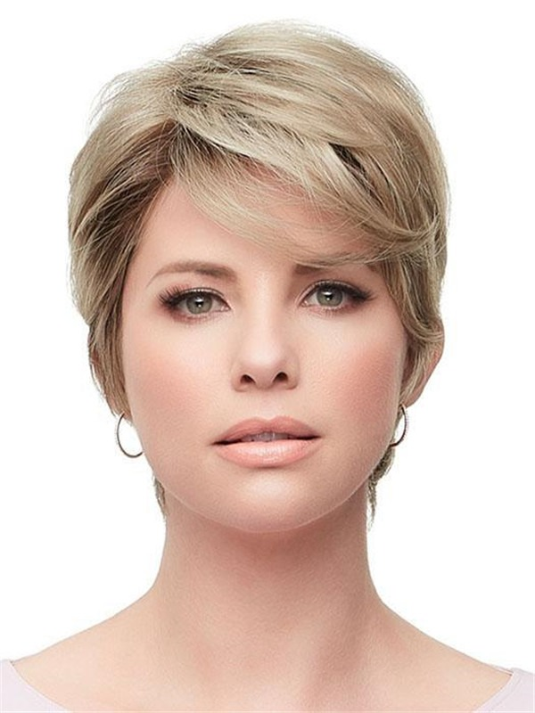 Short Rooted Rose Synthetic Lace Front Wig For Women