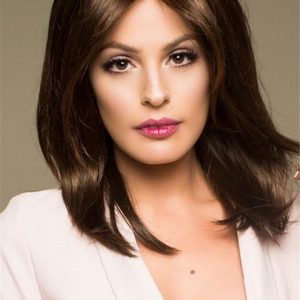 Rooted Mid-length Sandra Synthetic Wig For Women
