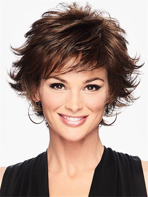 Short Textured Flip Wig Synthetic Wig Rooted For Women