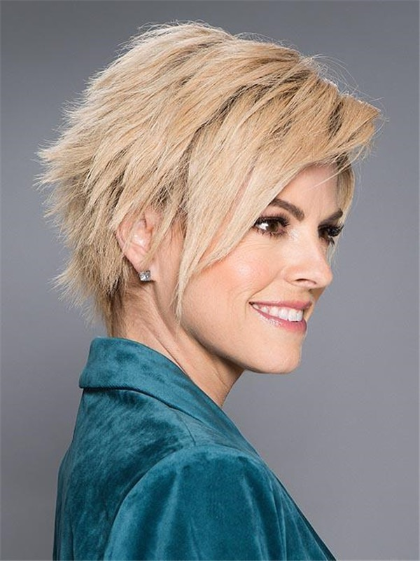 Short Rooted Xela Human Hair Lace Front Wig For Women