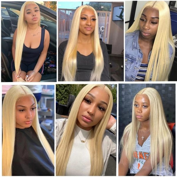 High Quality Women Blonde Long Straight Basic Cap Lace Front Synthetic Human Hair Wig