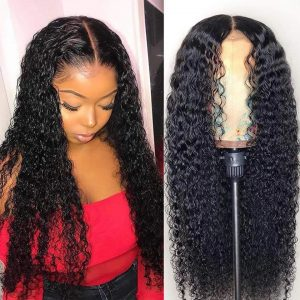 Hot Sale Women Long Curly Basic Cap Lace Front Synthetic Human Hair Wig