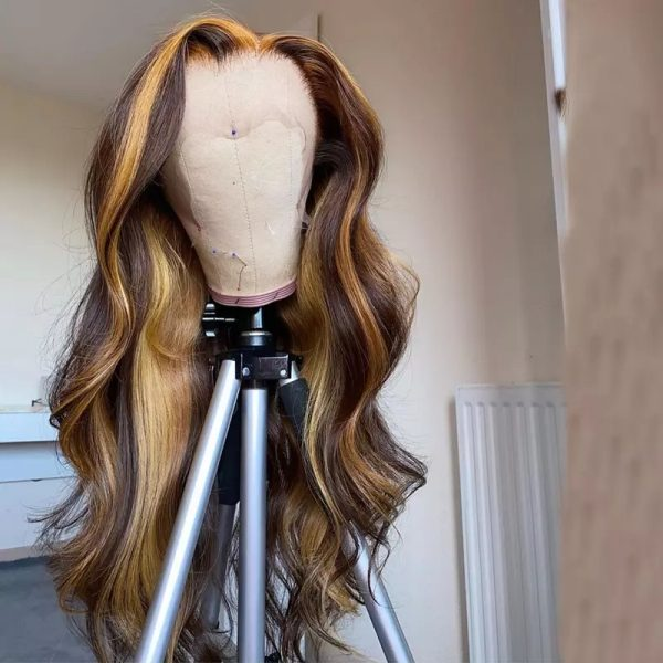 Hot Sale Women Blonde Long Wavy Basic Cap Lace Front Synthetic Human Hair Wig