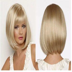 Popular Blonde Short For Women Straight Basic Cap Synthetic Wig