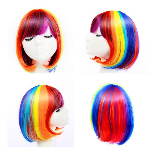 Chic Red Short Straight Basic Cap Synthetic For Women Wig