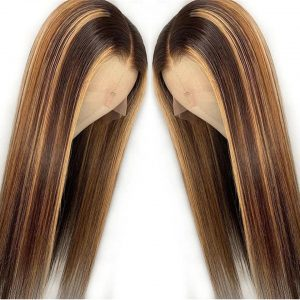 Hot Sale Women Blonde Long Straight Basic Cap And Lace Front Synthetic Human Hair Wig