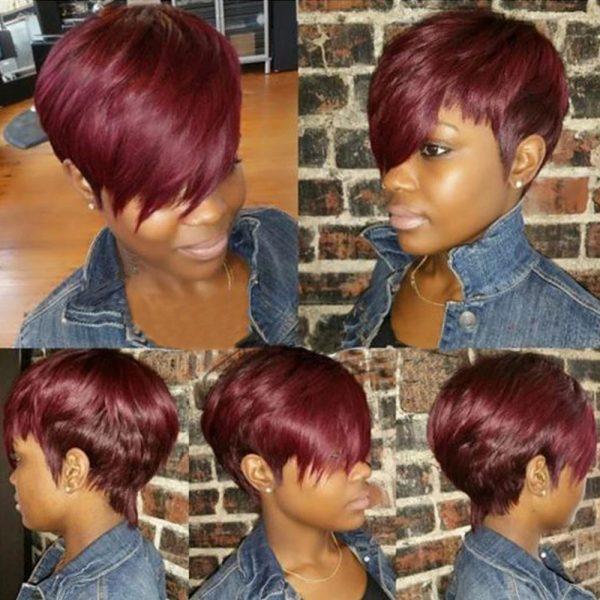High Quality Women Black Short Straight Basic Cap Synthetic Human Hair Wig