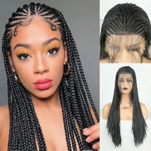 Top Quality Blonde Long Braided Lace Front Synthetic Wig For Women