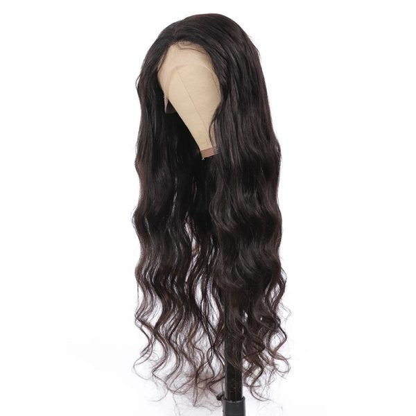 High Quality Black Long Wave Basic Cap Synthetic Human Hair Wig For Women